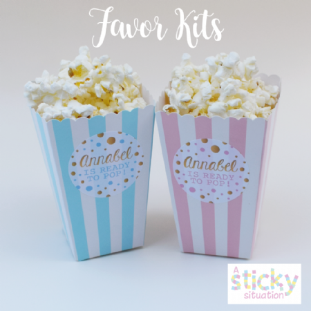 Personalised 'Ready to Pop' Mini Popcorn Boxes and Stickers